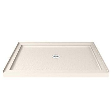 DreamLine SlimLine 32 in. D x 42 in. W x 2 3/4 in. H Center Drain Single Threshold Shower Base in Biscuit