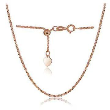 Mondevio 14K White Gold 1.3mm Rock Rope Adjustable Italian Chain Necklace, 14-20 Inches (Rose)