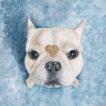 Parvez Taj Heart Bulldog Canvas Wall Art