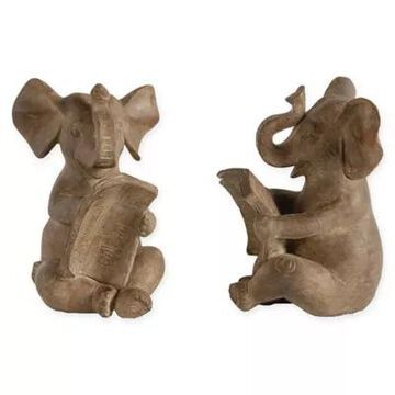 A&B Home 2-Piece Resin Elephant Bookend Set Natural