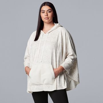 Plus Size Simply Vera Vera Wang Hooded Velour Sleep Poncho