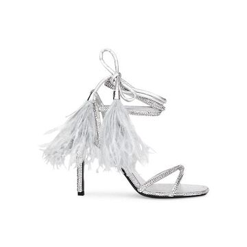 Valentino Garavani Upflair Feather-Trimmed Crystal-Embelished Leather Sandals