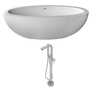 ANZZI Lusso 6.3 ft. ANZZI Stone Freestading Bathtub and Sens Faucet