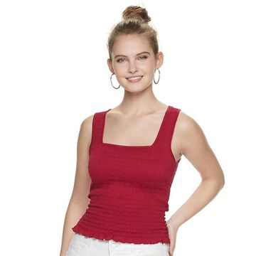 Juniors' Candie's Square Neck Smocked Tank Top