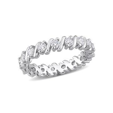 1 Carat T.G.W. Moissanite Sterling Silver Wave Anniversary Ring