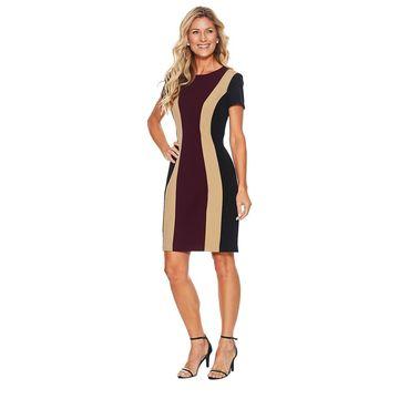 Connected Apparel Short Sleeve Color Block Crepe Sheath Dress