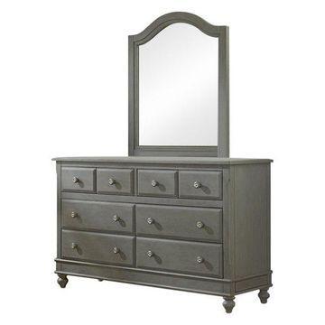 NE Kids Lake House 8 Drawer Dresser with Mirror in Stone