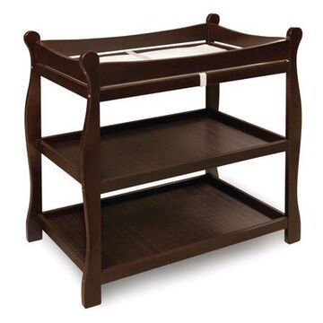 Badger Basket Sleigh Style Baby Changing Table, Espresso, Includes Pad
