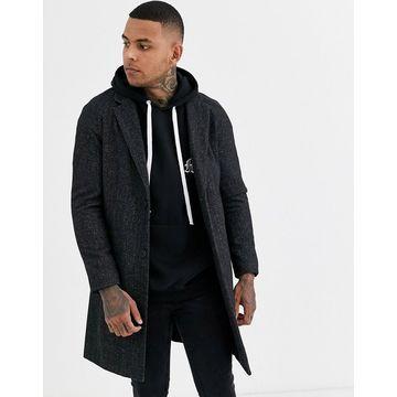 Bershka wool blend overcoat in black marl