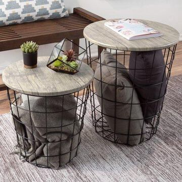 Nesting End Tables with Storage- Set of 2 Round Metal Baskets By Lavish Home, Gray