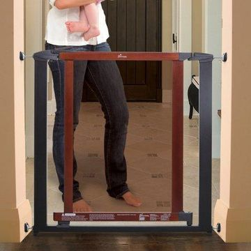 Dreambaby Metropolitan Security Gate Charcoal Metal Frame, Cherry Wood + Polycarbonate Door Fits Openings 28.5-34.5 inches