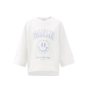 Ganni - Smiley Face Recycled Cotton-blend Sweatshirt - Womens - White / Ivory
