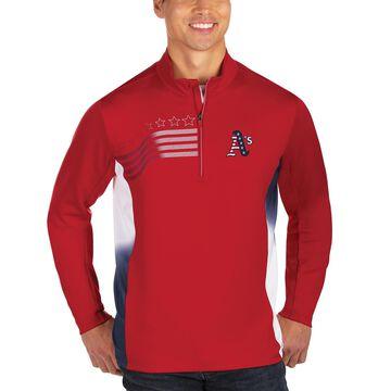 Men's Antigua Red Oakland Athletics Liberty Quarter-Zip Pullover Jacket