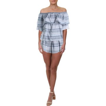 Rampage Womens Striped Off The Shoulder Romper
