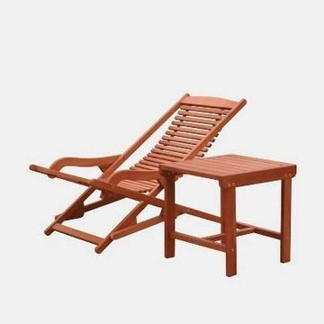 Malibu Wood Outdoor Patio 2pc Chaise Lounge Set