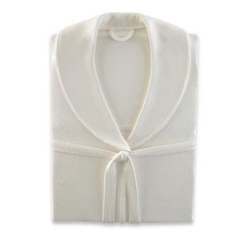 Kassatex Luxury Diamond Large/Extra-Large Robe in Ivory