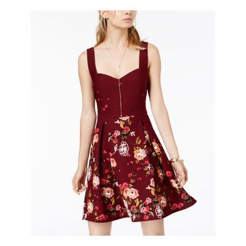 TRIXXI Womens Maroon Floral Sleeveless Sweetheart Neckline Above The Knee Circle Party Dress Juniors Size: 3
