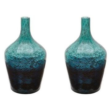Lazy Susan Emerald Ombre Bottles, Set Of 2
