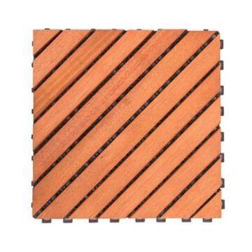 Vifah Outdoor Patio 12-Diagonal Slat Eucalyptus Interlocking Deck Tile Set of 10 Tiles
