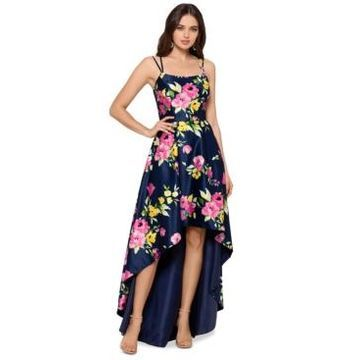 Xscape Floral-Print High-Low Ball Gown