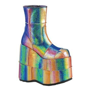 Demonia Men's Stack 201 Ankle Boot Rainbow Iridescent Vegan Leather