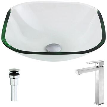ANZZI Cadenza Series Lustrous Clear Deco-Glass Vessel Sink with Enti Brushed Nickel Faucet