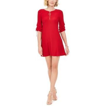 Msk Petite Ruffle-Sleeve Zip Dress
