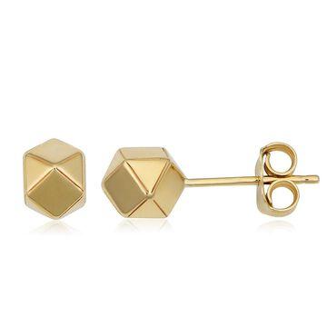 Fremada 14k Yellow Gold Geometric Stud Earrings