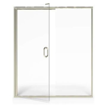 American Standard 76-in H x 56.06-in to 60-in W Semi-Frameless Hinged Brushed Nickel Shower Door (Clear Glass)   AM00816400.006