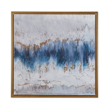 Madison Park Blue Embrace Framed Gel-Coated A Home Canvas Print with Gold-Tone Foil