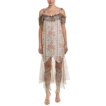 Anna Sui Whisper Rose Satin Stripe And Tulle Maxi Dress