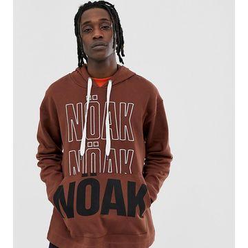 Noak oversized hoodie in brown with branding
