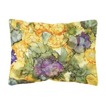 Abstract Flowers Purple and Yellow Fabric Decorative Pillow