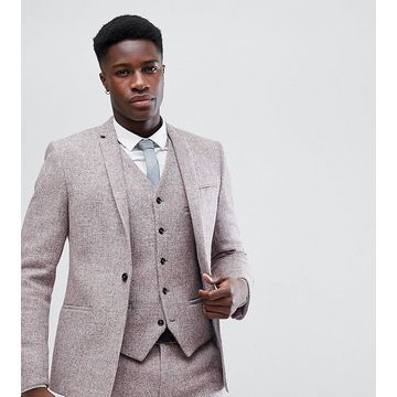 Noak Skinny Suit Jacket In Harris Tweed-Pink