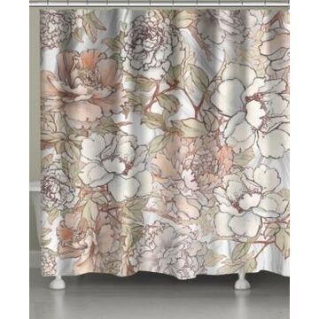 Laural Home Blushing Pale Pink Peonies Shower Curtain Bedding