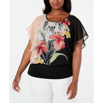Plus Size Printed Flutter-Sleeve Top, Created for Macy's