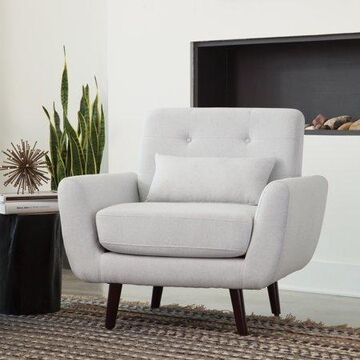 OFM Mid Century Modern Tufted Fabric Accent Chair, Lumbar Support Pillow