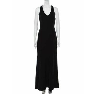 V-Neck Long Dress Black
