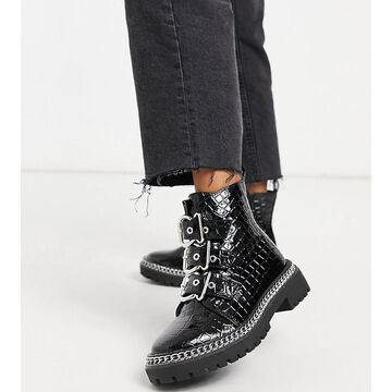 Truffle Collection wide fit chunky buckle boots in black croc