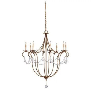 Currey and Company 9881 Crystal Light 8 Light Chandelier - Gold