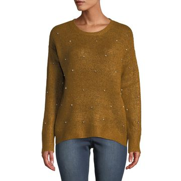 Pearly-Stud Relaxed-Fit Sweater
