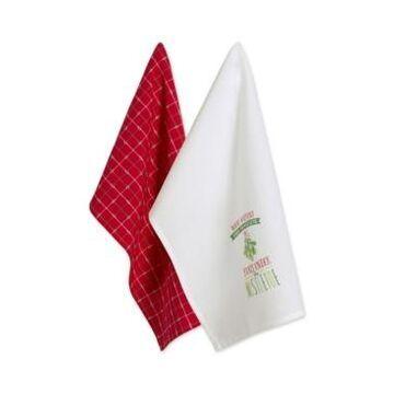 Design Imports Assorted Under Mistletoe Holiday Printed Dishtowel Set