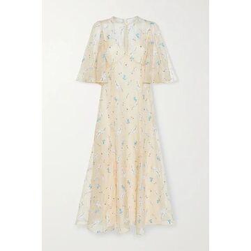 Erdem - Alcie Embroidered Silk-organza Midi Dress - Cream
