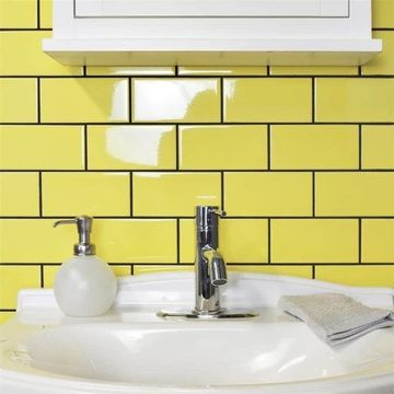 SomerTile 3x6-inch Malda Subway Glossy Canary Yellow Ceramic Wall Tile (136 tiles/19.18 sqft.)