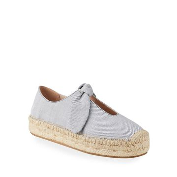 Viola Striped Flat Espadrilles, Blue