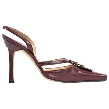 Manolo Blahnik Burgundy Leather Sandals