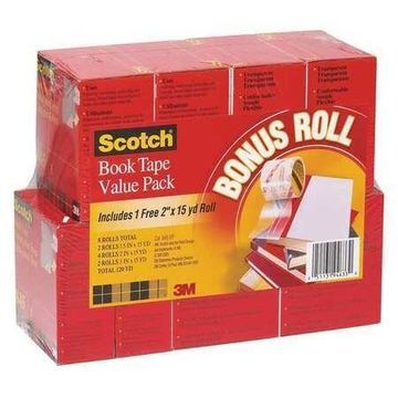 SCOTCH 845-VP Book Tape,Clear,PK8