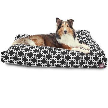 Majestic Pet Links Rectangle Dog Bed Treated Polyester Removable Cover Black Large 44