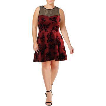 Trixxi Womens Floral Print Illusion Party Dress