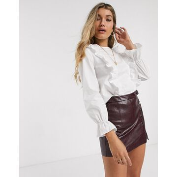New Look frill detail poplin blouse in white